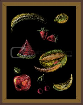 Chalk drawing of fruits on black board