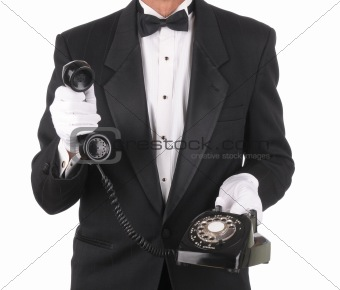 Butler with Phone