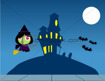 Witch Cartoon Flying over a House on Halloween.