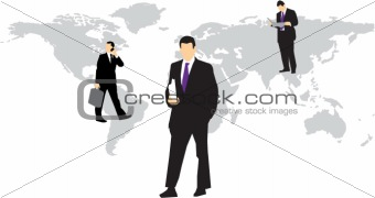 Business Men on world map
