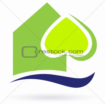 Green nature eco house icon