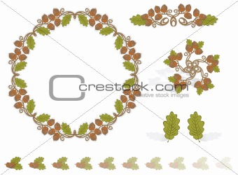Autumn Design Elements Acorns