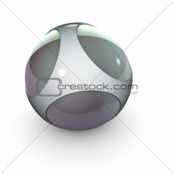 close view of metal steel alien techno object ball