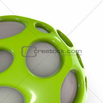 3d close view of green alien techno object ball