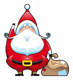 Santa Claus with bag.