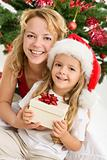 Merry christmas - woman and little girl with a present