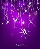 Violet Abstract Christmas card with snow flakes