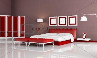 modern red bedroom