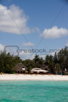 Beach bar and restaurant on beautiful tropical beach