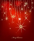Red Abstract Christmas card with gold snowflakes