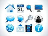 blue glossy web icons