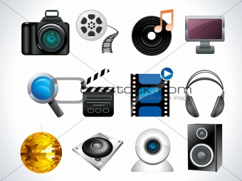 media web icon set