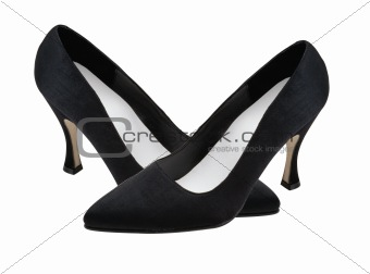 Black woman shoes isolated on the white background