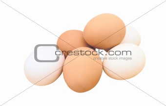Group of brown and white hen's eggs isolated on white