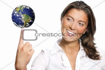 Beautiful young woman and the Earth