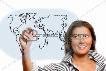 Beautiful woman drawing world map