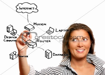Beautiful young woman drawing internet chart
