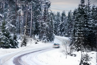 car on winter road
