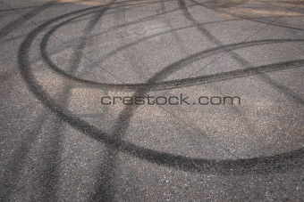 Skidmarks on asphalt