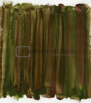 green, brown, and red abstract on canvas