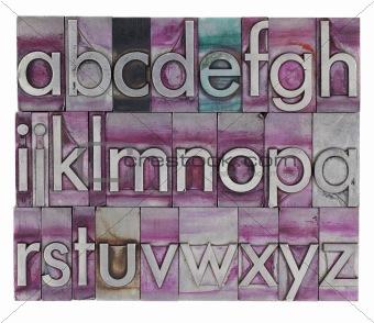 alphabet in metal letterpress type