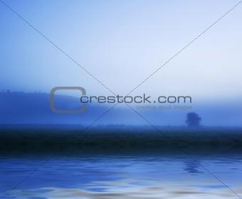 Beautiful water reflection of evokative cloudscape