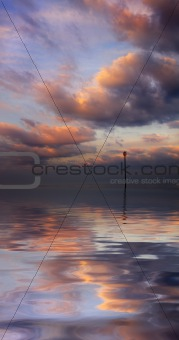 Beautiful water reflection of evokative cloudscape
