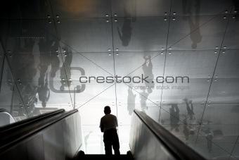 Man in escalators