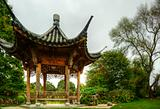 Superbly detailed pagoda in lush green gardens