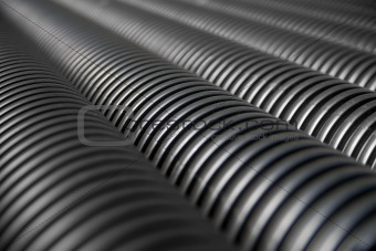 Close up of black plastic pipes