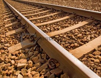 Close up of railroad track