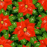 Christmas flowers seamless background 06