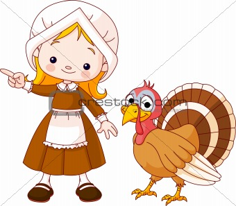 Thanksgiving Pilgrim girl and turkey