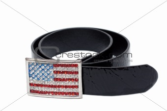 Black leather glossy belt