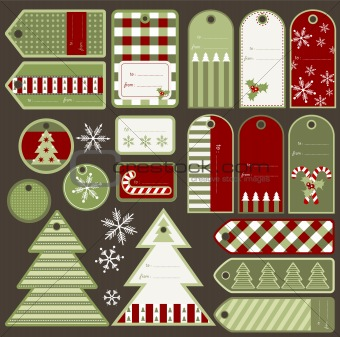 Christmas gift tags, vector