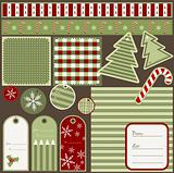 Christmas elements and patterns, vector