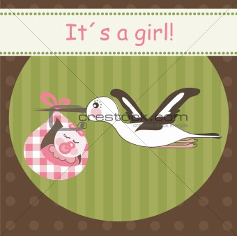 Baby girl arrival card, vector