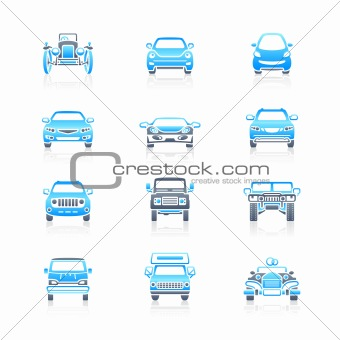 Cars front view icons | MARINE series
