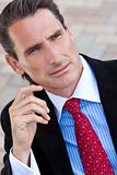 Outdoor Portrait of Handsome Middle Aged Man or Businessman