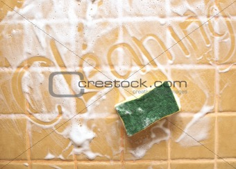 "Inscription ""cleaning"" on soap wall"