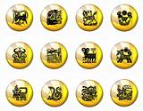 Buttons Astrology Chinese Zodiac - Whole Set