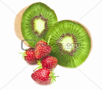 kiwi and strawberry. It is isolated on white background.