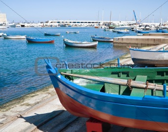 Boats at the old port of Bari. Apulia.