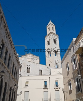 Alleyway with Belltower Cathedral. Bari. Apulia.