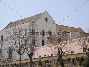 Ancient walls with St. Nicholas Basilica. bari. Apulia.
