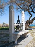 Characteristic garden seat in the Public park of Trani. Apulia.