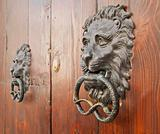 Door knockers on ancient portal.