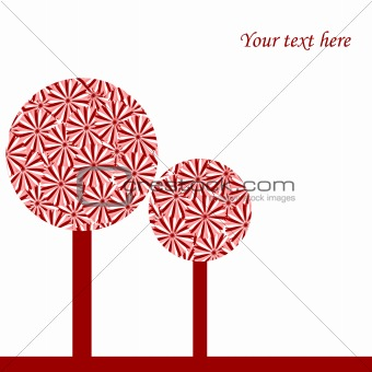 Abstract card with conceptual red trees
