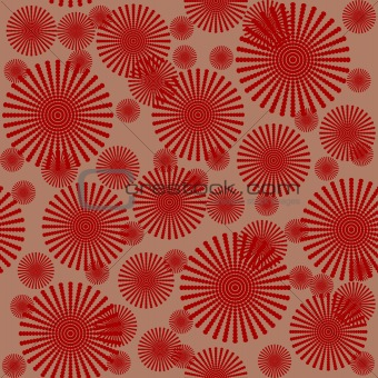 Abstract pattern with red flowers