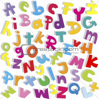 Alphabet background, small and capital letters